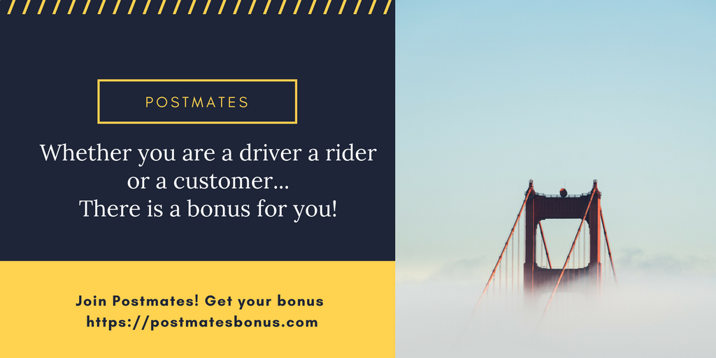 Postmates Referral Code San Francisco | Bonus for Driver